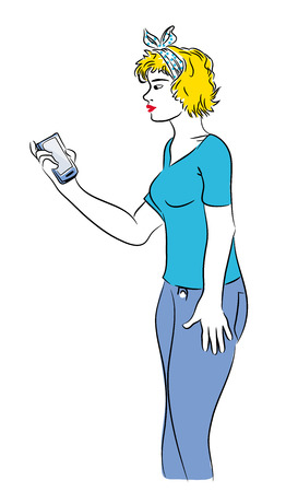 Girl and mobile phone. Beutiful blond girl holding mobile phone illustration.