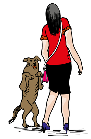 Young woman and dog. illustration of happy street dog with scared business woman.