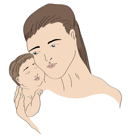 Mother and every last. Mother hugging her son with her hand. illustration of mother and her sleeping baby.
