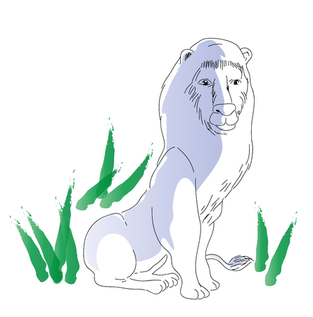 sitting lion. illustration of africa big lion, wildlife concept. Çizim