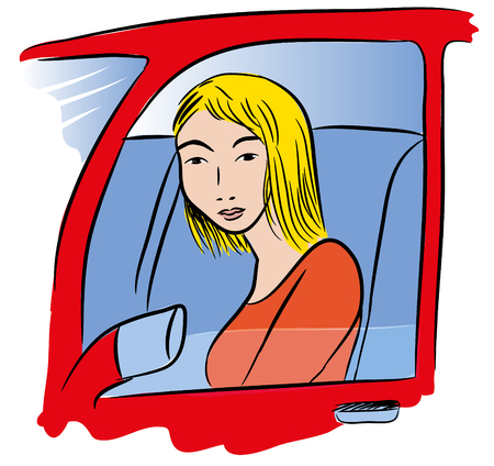 Car driver woman. illustration of a blond woman driving a red car. Illustration