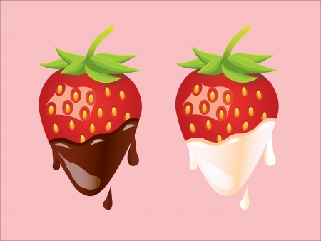 Two Strawberries - Ð¡ream and Ð¡hocolate