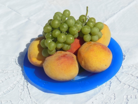 Still life with fresh peaches and some grape, sunny day  photo