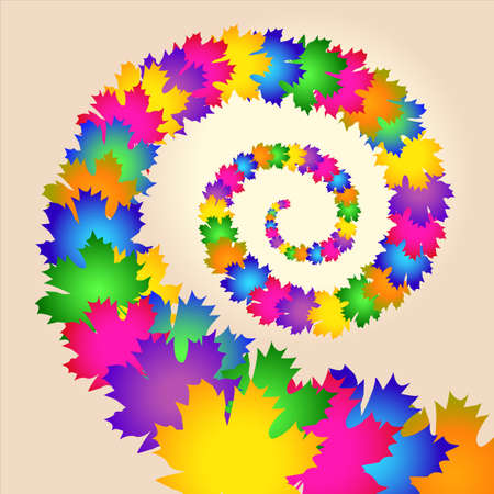 Maple colorful leaves swirl  Vector