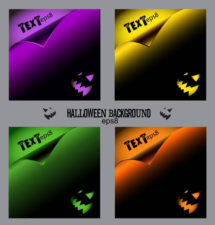 Set of colorful halloween backgrounds  Vector