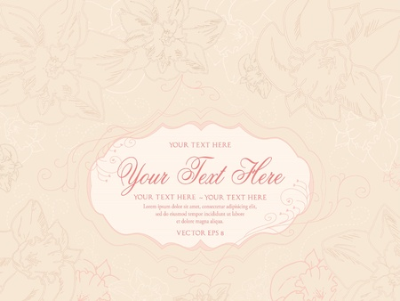 Vintage pastel background with hand drawn flowers Vector