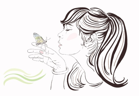 lines: Beautiful girl with butterfly