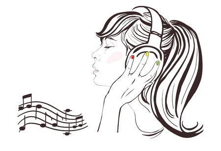 Muchacha bonita con el pelo largo en los auriculares, perfil de Notas, copia espacio ilustración a mano
