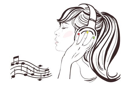 Pretty girl with long hair in headphones, profile  Notes, copy space  hand-drawn illustration Vector