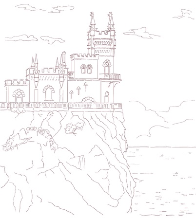 clouded sky: Old medieval castle  Vector hand drawn pencil sepia illustration  Building situated on the cliff, sea and clouded sky   Illustration