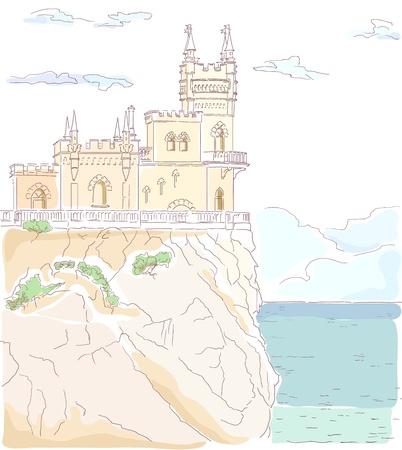 clouded sky: Old medieval castle  Vector hand drawn watercolor illustration  Building situated on the cliff, sea and clouded sky   Illustration