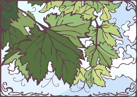 Bunch of grape leaves, vector hand drawn illustration Vector