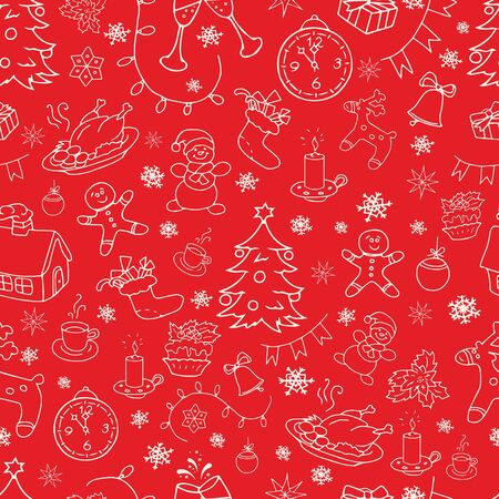 Seamless doodle backgrounds, Christmas, New Year, winter holidays pattern. Decorative elements in vintage style.