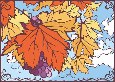 clouded sky: Bunch of autumn grape leaves and grapes, nice sunny day, clouded bright blue sky on the background. Vector eps 10 hand drawn illustration. Vintage, art nouveau, new art, stained glass style.