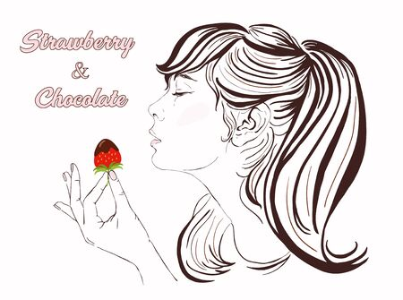 beautiful eating: Pretty girl with long hair eating strawberry and chocolate. Illustration of a beautiful young woman enjoying a strawberry and chocolate. Happy Valentine Day Vector hand-drawn illustration. Copy space. Illustration