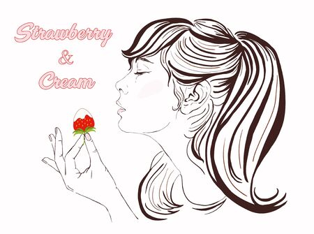 beautiful eating: Pretty girl with long hair eating strawberry and cream. Illustration of a beautiful young woman enjoying a strawberry and cream. Happy Valentine Day Vector hand-drawn illustration. Copy space.