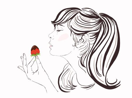 beautiful eating: Pretty girl with long hair eating strawberry and chocolate. Illustration of a beautiful young woman enjoying a strawberry and chocolate. Happy Valentine Day raster hand-drawn illustration. Copy space.