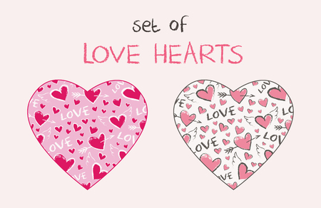 Vector hearts set. Happy Valentine Day pattern in the shape of heart. ute hand drawn hearts with angel wings and arrows.