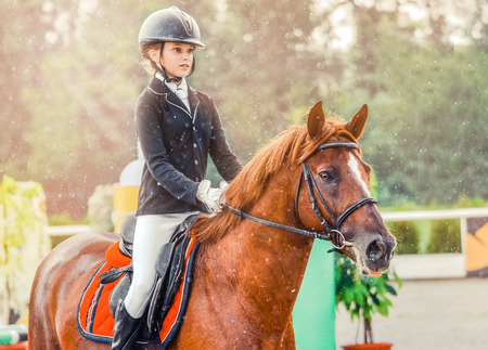 Young girl in uniform jumping with sorrel horse. Blond pretty little girl going hurdle in a competition. Girl with red horse during equestrian showjumping. Stock Photo