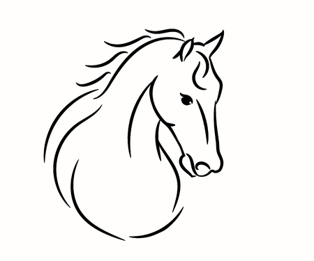 Horse head graphic logo template, vector illustration on white background. Stylish horse head outline for stable, farm, club race design. Racer or rearing mustang and running stallion for equestrian sport races or competition rides and contest. Logo