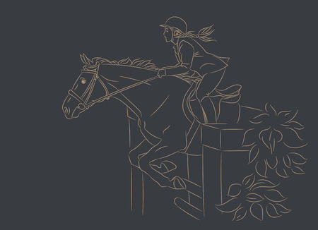 Beautiful girl at show jumping competition. Equestrian sport. Horsewoman and a horse are jumping over an obstacle, realistic gold outline vector illustration, dark background.