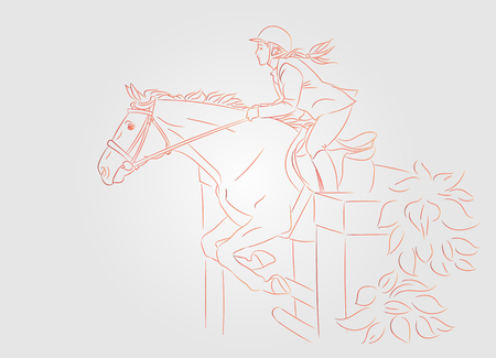 Beautiful girl at show jumping competition. Equestrian sport. Horsewoman and a horse are jumping over an obstacle, realistic red outline vector illustration, gray background.