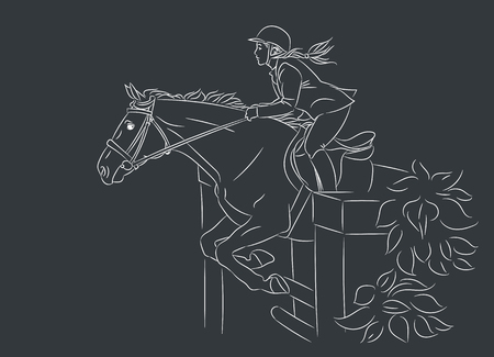Beautiful girl at show jumping competition. Equestrian sport. Horsewoman and a horse are jumping over an obstacle, realistic white outline vector illustration, dark background.