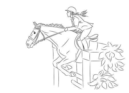 Beautiful girl at show jumping competition. Equestrian sport. Horsewoman and a horse are jumping over an obstacle, realistic black outline vector illustration, white background. Ilustração