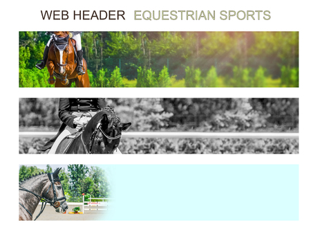 Banner template set, equestrian sports. Collection of horizontal web header designs, green trees and rider with horse as a background, copy space.