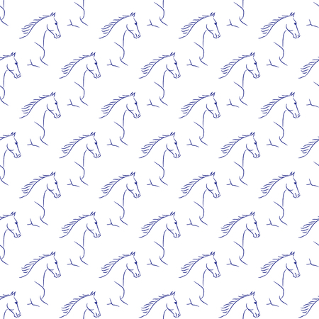 Seamless pattern with blue horses, white background. Realistic   illustration.