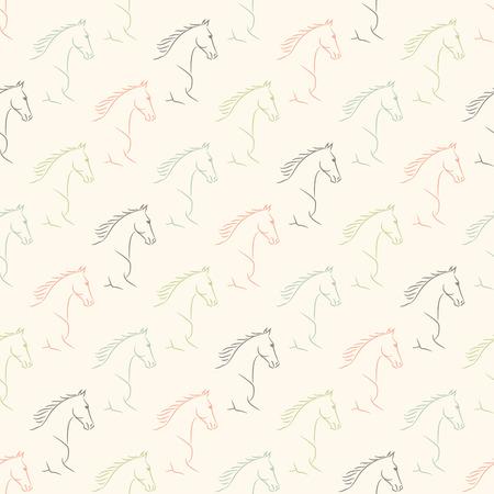 Modèle sans couture avec chevaux, couleurs pastel pâles, fond beige.