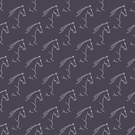 Seamless pattern with white horses, pink mane, violet background.