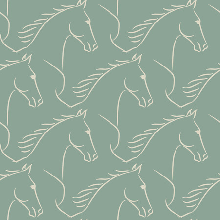 Seamless pattern with beige horses, green background. Realistic illustration.