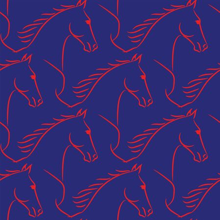 Seamless pattern with horses lineart. Realistic hand drawn doodle vector illustration.