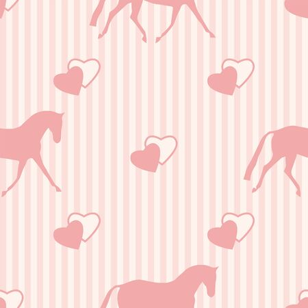 Seamless horse pattern. Realistic vector silhouette, flat style. Pastel vertical background.