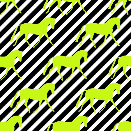 Seamless horse pattern. Realistic vector silhouette, flat style. Pastel diagonal background.