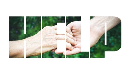 COVID-19 coronavirus. Fill text HELP with old, young hands, red heart image cut. Elderly people health. Compassion, dangerous, volunteer, help, virus outbreak, stop sign, stay at home. Stock Photo
