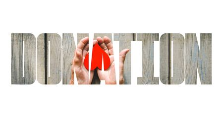 Donation fill text, old and young hands, red heart image cut, white background. Elderly people health, hunger, poorness, need. Team work business, charity, compassion, virus outbreak.