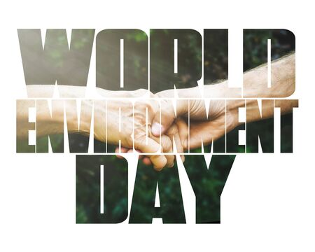 World Environment Day fill text, old and young hands, red heart image cut, white background. Elderly people health, hunger, poorness, need. Team work business, charity, compassion, virus outbreak. Stock Photo
