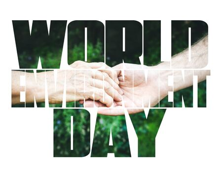 World Environment Day fill text, old and young hands, red heart image cut, white background. Elderly people health, hunger, poorness, need. Team work business, charity, compassion, virus outbreak. Фото со стока