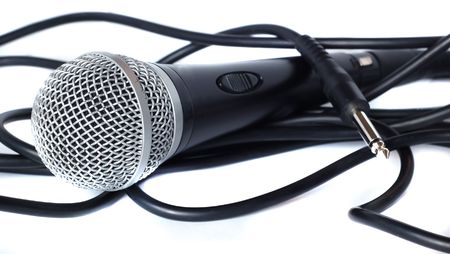 shure: A mic drowning in its cable Stock Photo
