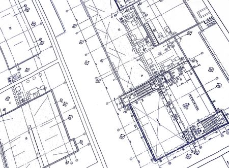 autocad: A blueprint with blue ink Stock Photo