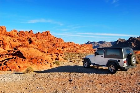 Jeep in the mountains photo