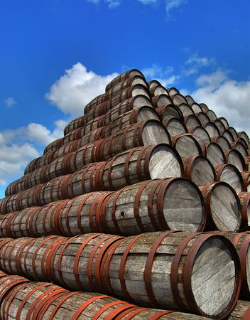 kegs: A stack of barrels outside Stock Photo