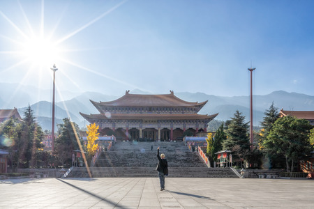 Dali, Yunnan, China - December 06,2016: The magnificent Chongsheng Temple and the well-known Three Pagodas are the symbol of Dali. Buddhist temples.