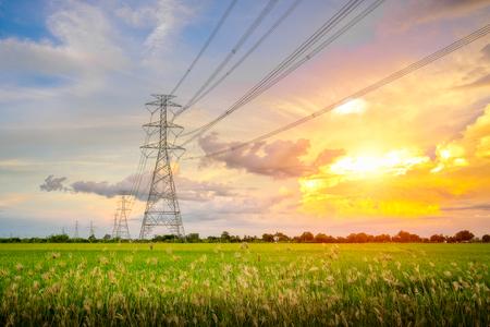 De beaux couchers de soleil avec des poteaux électriques à haute tension au milieu des rizières le soir. Banque d'images
