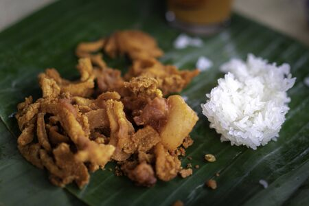 Fried pork with sticky rice ready to eat. Banco de Imagens