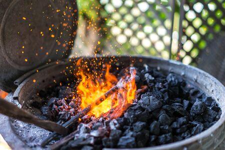 Making of horseshoe. Hot forge used by blacksmiths.