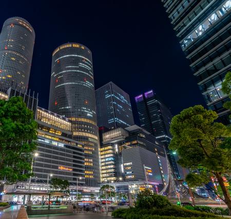 Nagoya, Japan - May 11, 2019 : JR Central Towers, Nagoya station and JR Gate Tower at night time. Editorial