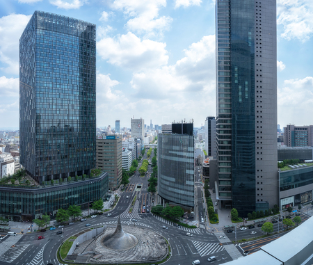Nagoya, Japan - May 13, 2019 : Cityscape of JR Central Towers, the buildings are located at JR Nagoya Station, Japan.